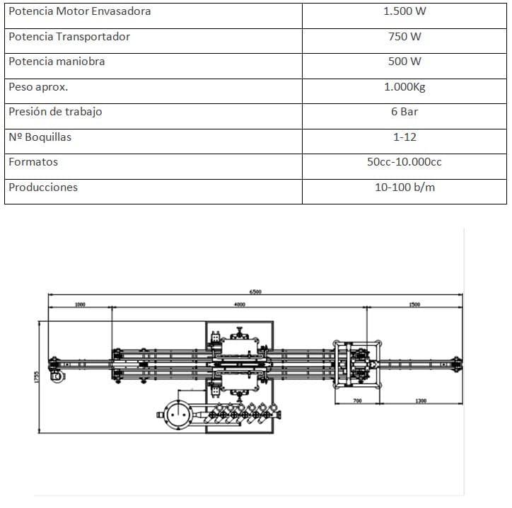 caracteristicas maquinas envasadoras lineales